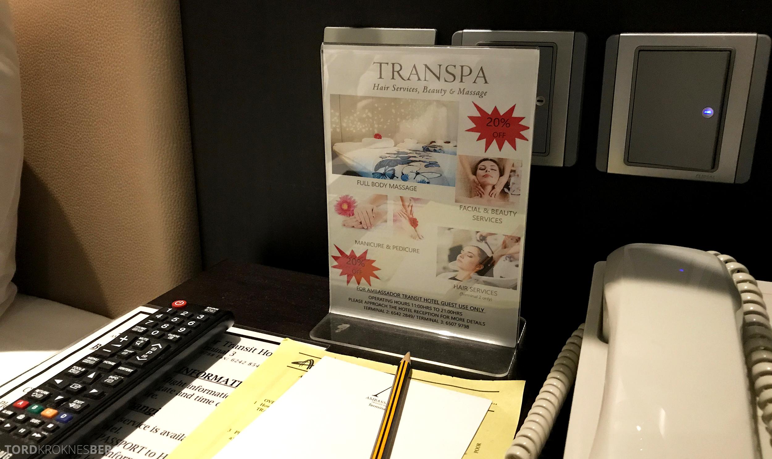 Ambassadeur Transit Hotel Changi spa reklame