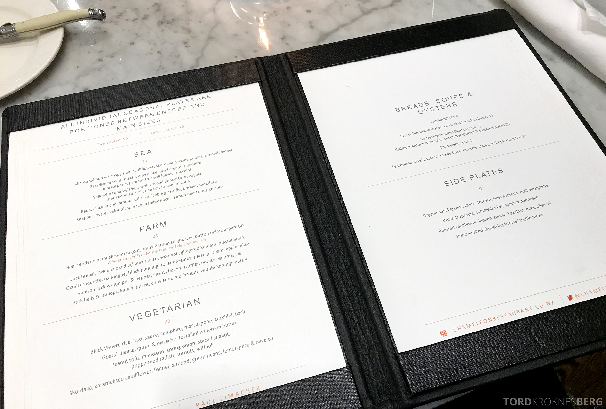 InterContinental Wellington Chameleon Restaurant meny