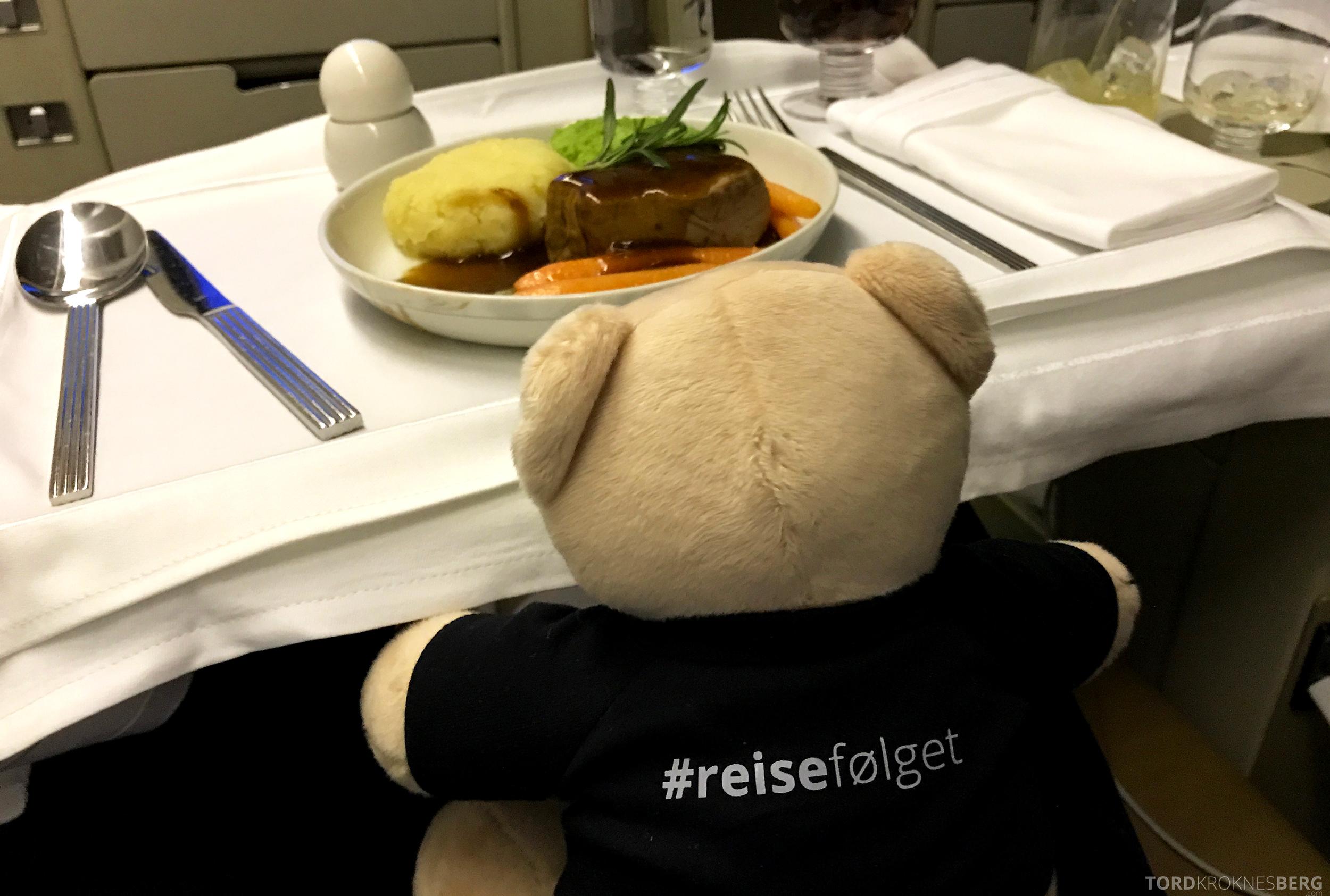 Singapore Airlines Business Class Canberra reisefølget mat