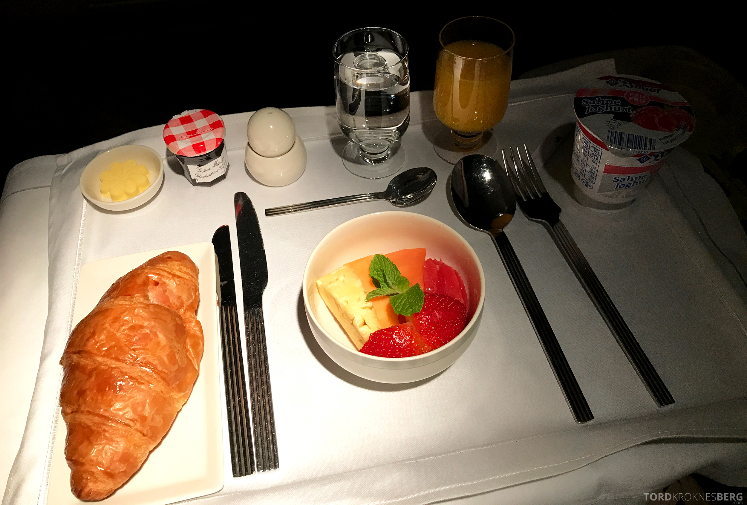 Singapore Airlines Business Class Canberra frokost