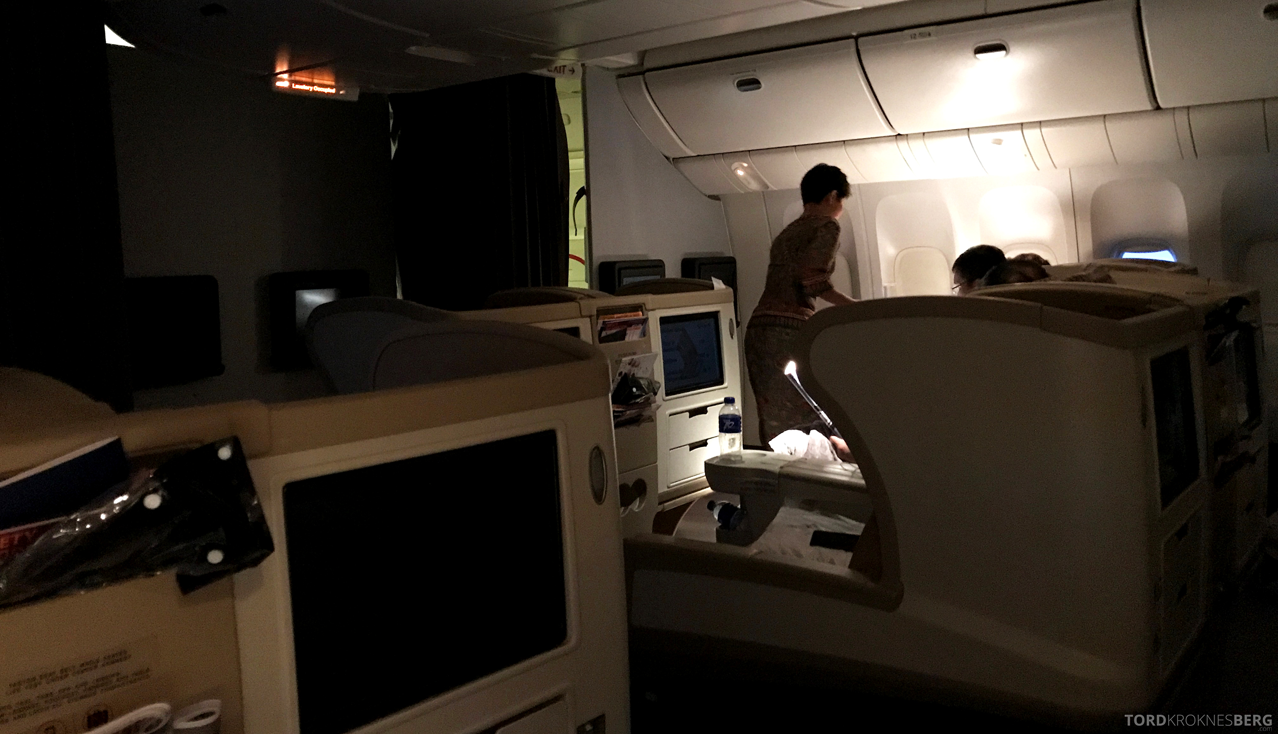 Singapore Airlines Business Class Canberra servering frokost