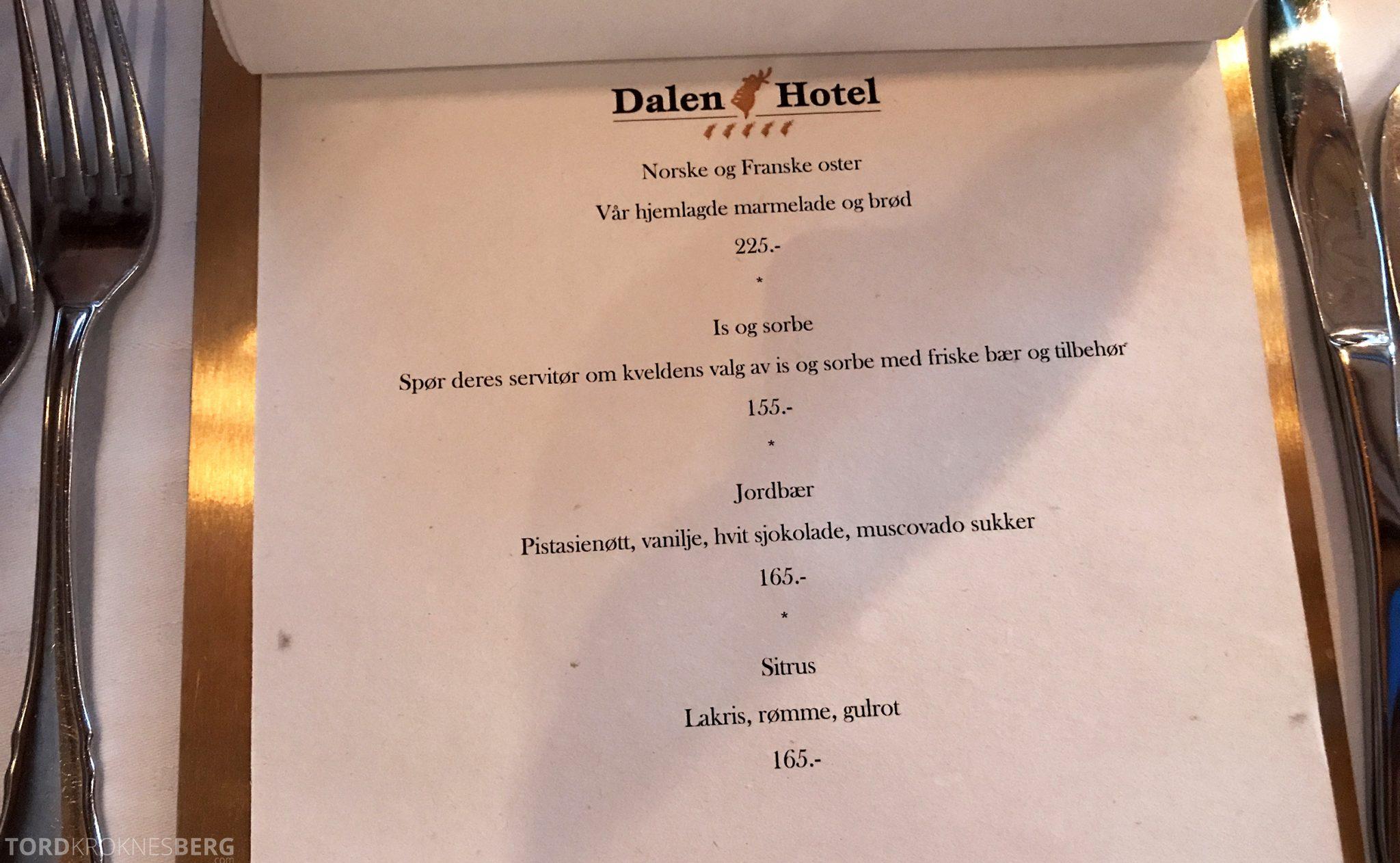 Restaurant Bandak Dalen dessertmeny