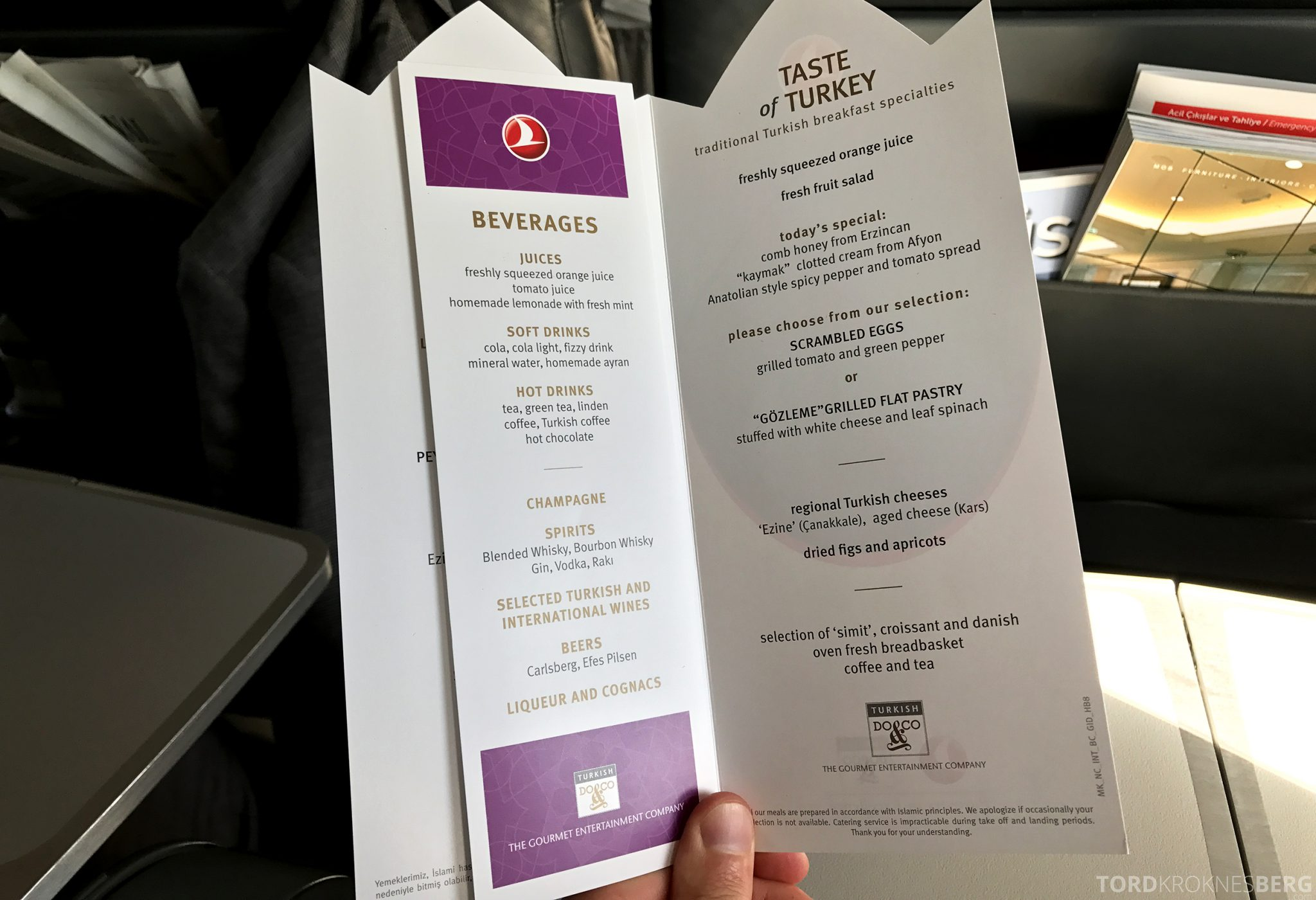 Turkish Airlines Business Class Istanbul Oslo meny