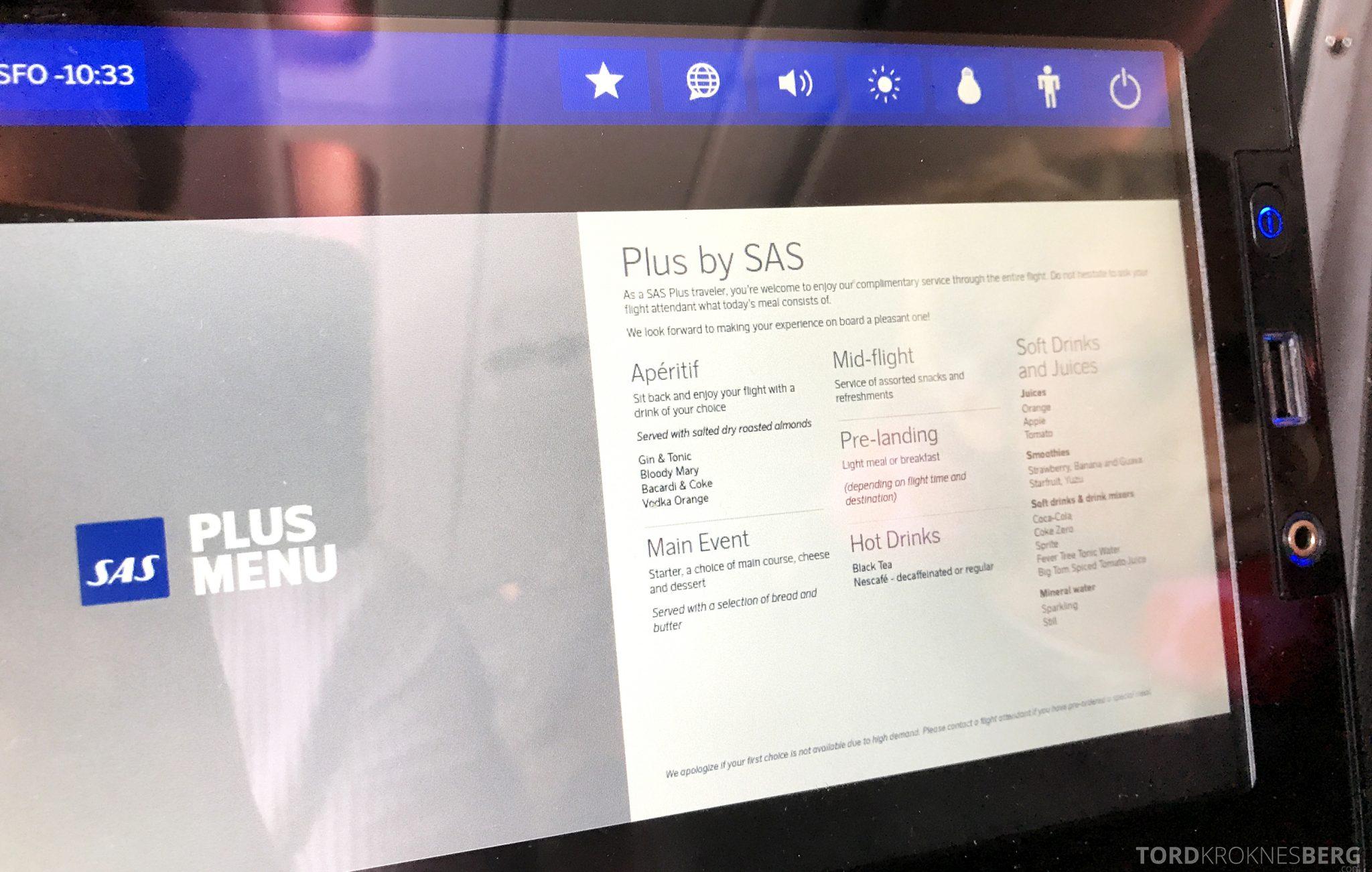 SAS Plus Oslo San Francisco meny