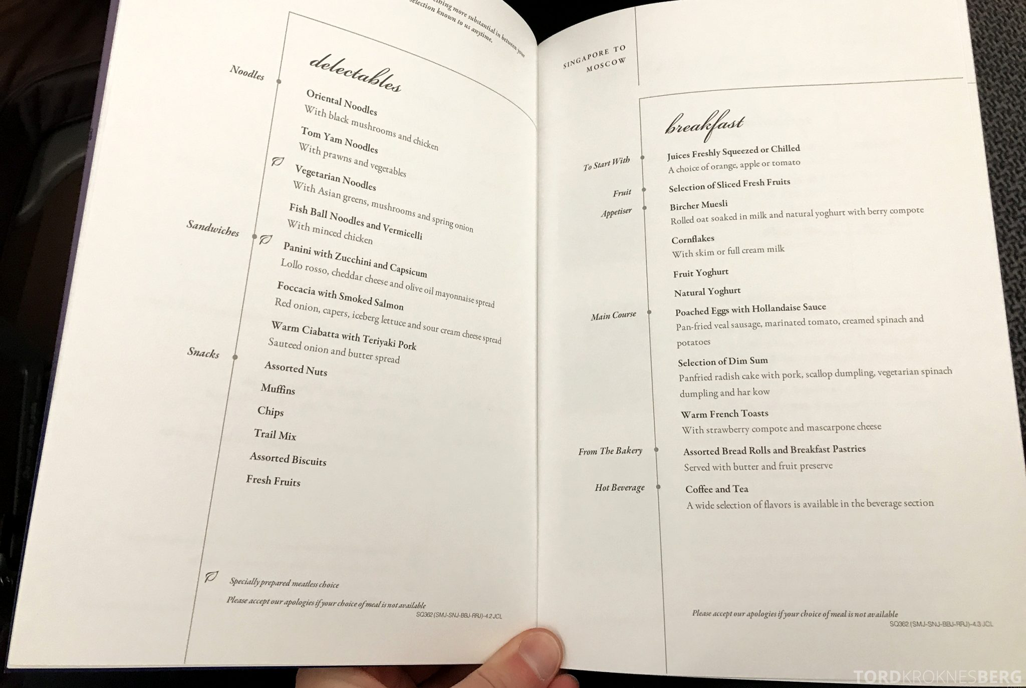 Singapore Airlines Business Class Moskva Stockholm meny snacks frokost