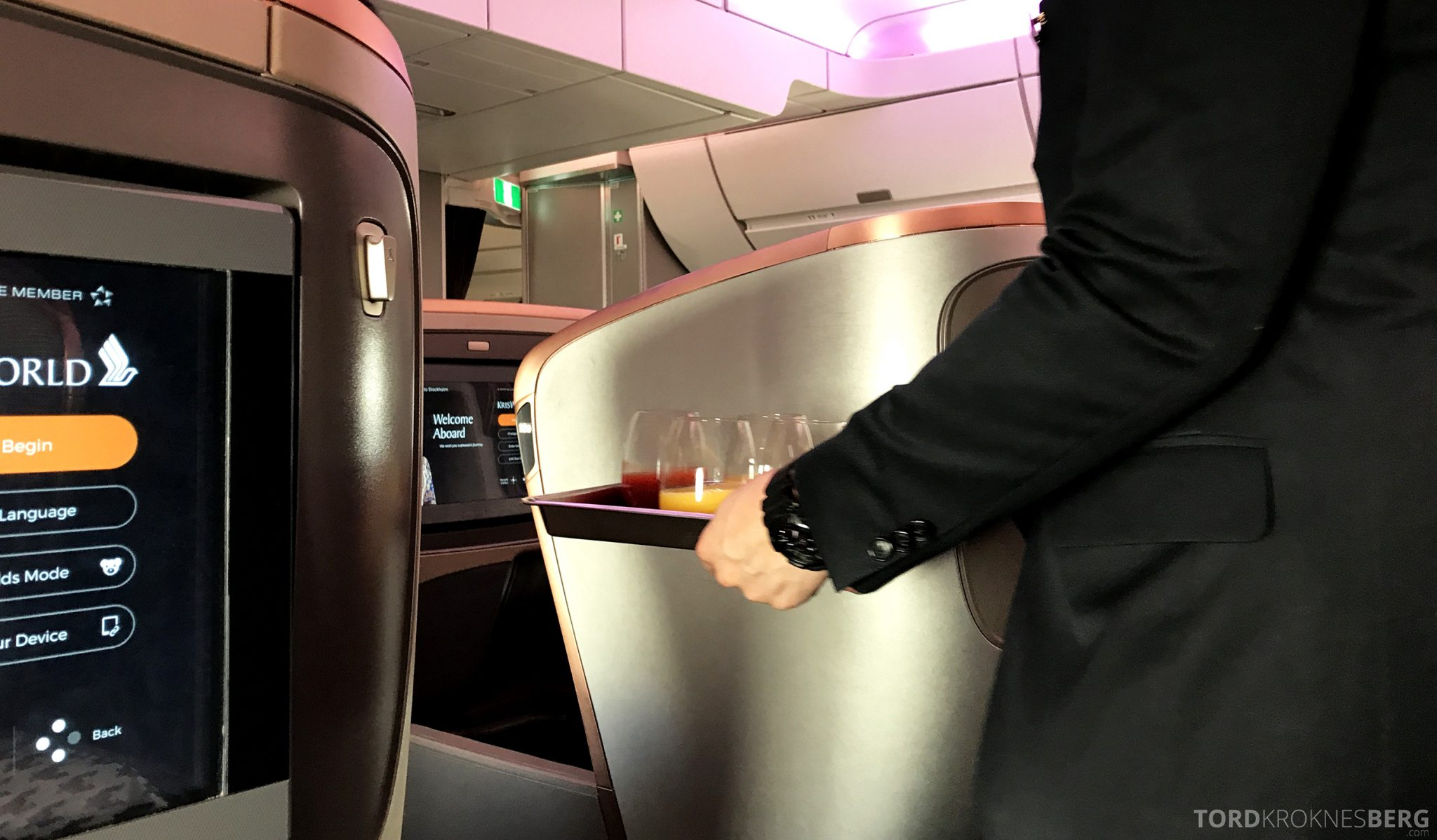 Singapore Airlines Business Class Moskva Stockholm velkomstdrink