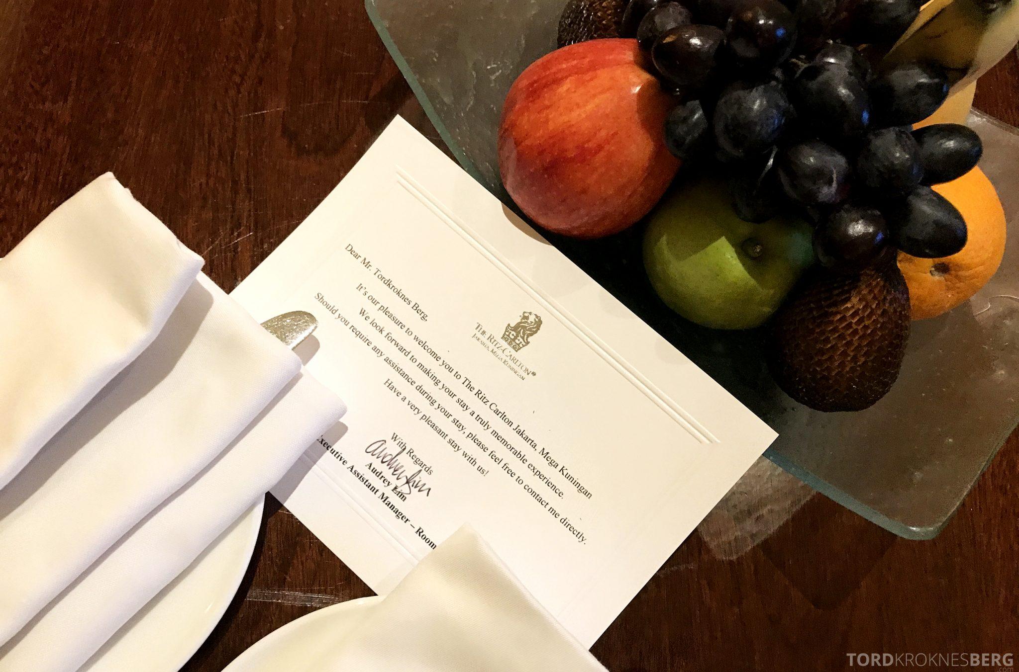 Ritz-Carlton Jakarta velkomstkort